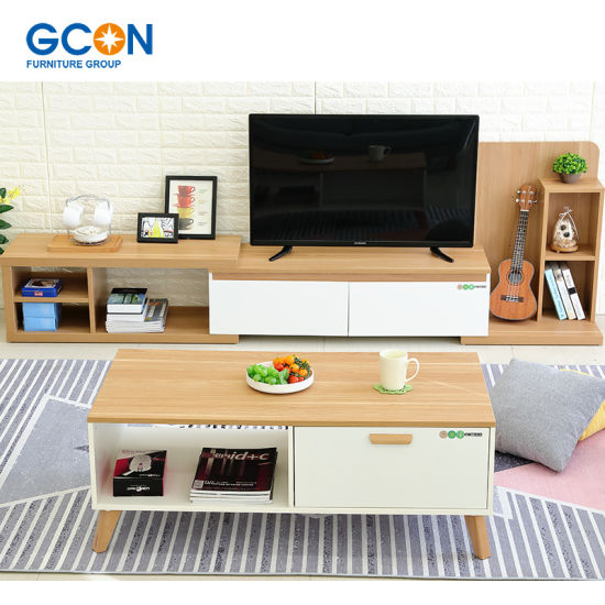Wood Centre Coffee Table With Storage Cabinet Modern Living Room Furniture