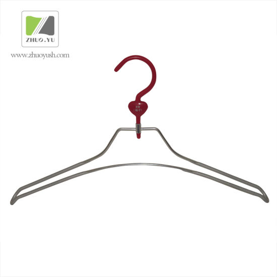 China Custom Double Wire Hanger Metal Clothes Hanger With Plastic