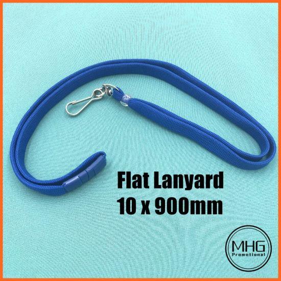 Royal Blue Flat 10mm Clear Plastic Bead Swivel Hook Lanyards with Breakaway
