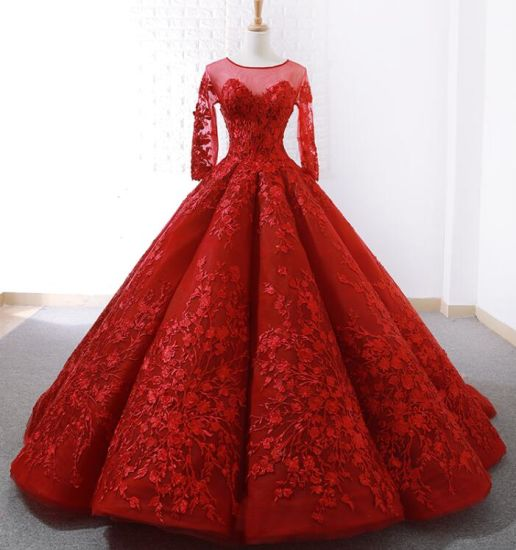 China 3 4 Sleeves Red Bridal Wedding Dress Lace Ball Gown 15 Years