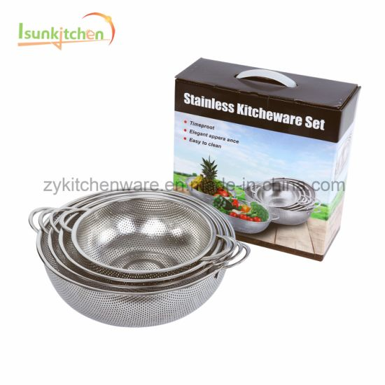 Multi Sizes Metal Sieve 9 PCS Rice Stainless Steel Collapsible Colander Kitchenware Set pictures & photos