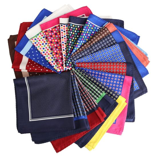 Free Shipping Bulk Sale Men Polyester Paisely Pocket Square Handkerchief