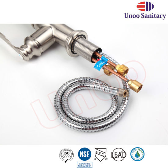 Unoo Pull Down Chrome Brush Nickle Spray Faucet with Upc (F80030) pictures & photos