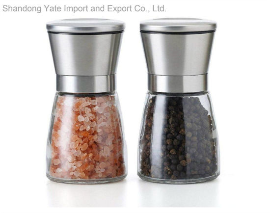 Glass Spice Jar with Stainless Steel Grinder Seasoning Pot for Kitchenware
