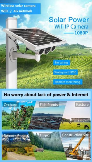 4G Solar Power IP Camera, Smart PIR Sensor, Motion Detection, Solar Powered, Weatherproof