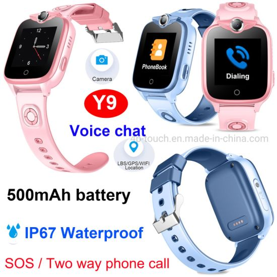 2021 New Developed GSM IP67 Water resistance Security Kids SOS Smart Watch GPS Tracker for avoid abducting Y9