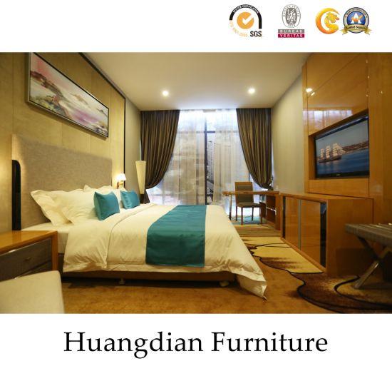 Custom Modern Design Plywood Cover with Wood Veneer Hotel Bedroom Furniture Set (HD450)