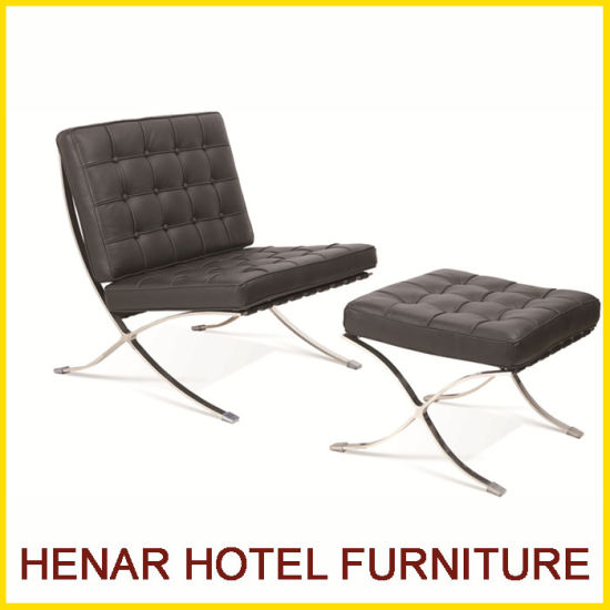 China Modern Hotel Chaise Lounge Chair Leather Barcelona Sofa With