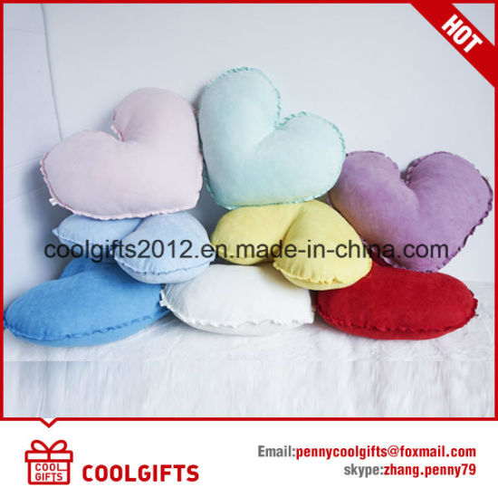 Multi-Color Fashion Suede Heart Soft Stuffed Bolster Pillow Cushion pictures & photos