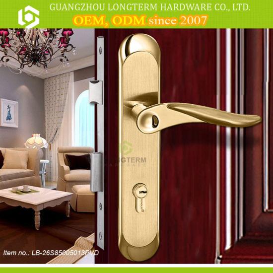 China PVD Gold Color Safe Bedroom Door Key Handle Locks ...