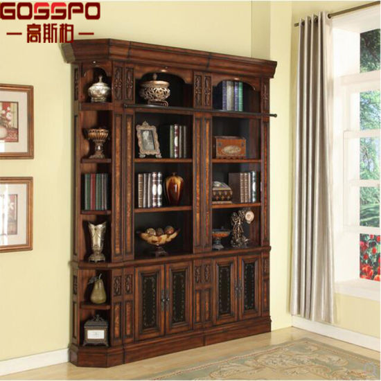 European Style Narrow Wood Bookshelf Bookcase With Glass Door GSP18 009