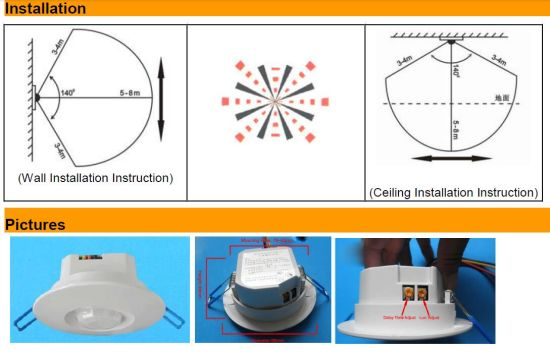 Ceiling Mounted Passive Infrared Detector PIR Occupancy Presence Sensor pictures & photos
