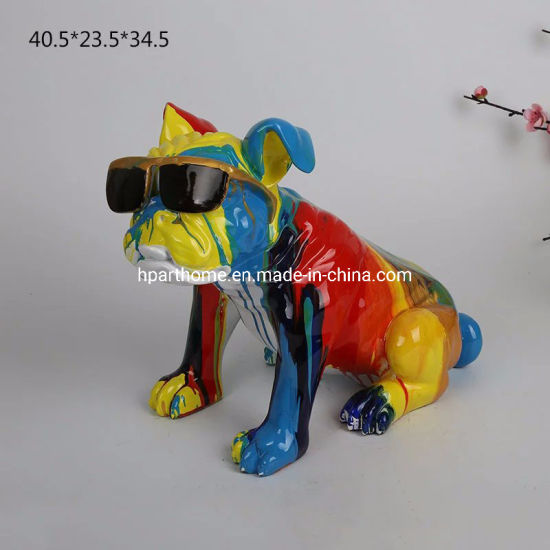 Gorgeous Vibrant Polyresin Bullgdog Animal Sculpture Figurine Supplier