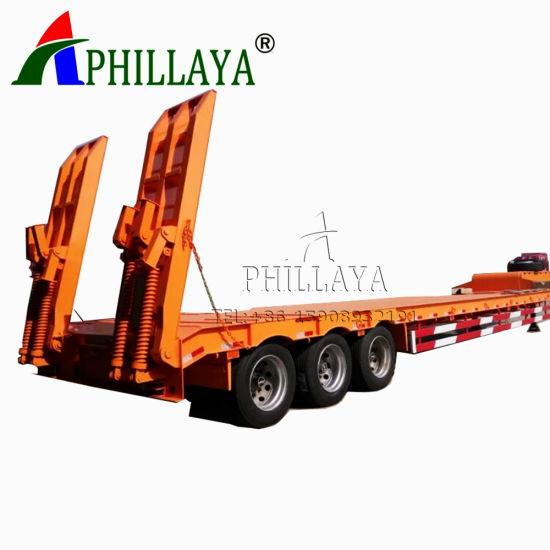 Tri-Axle 40-50tons Drop Deck Truck Low Bed Semi Trailer (05)