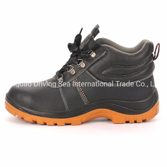 China Factory Men Work Shoes Industrial Basic Style Safety Shoes with Embossed Leather PU Injection Sole