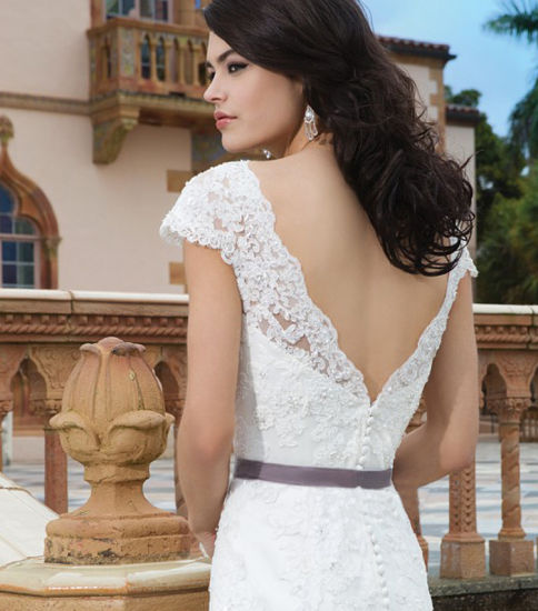 Vintage Fit & Flare Sleeveless V Neck Lace Wedding Dress pictures & photos