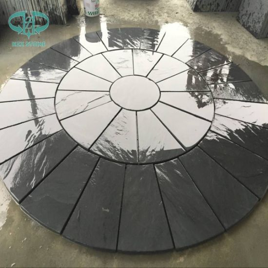 Natural Split Round Shape Pattern Black Slate pictures & photos