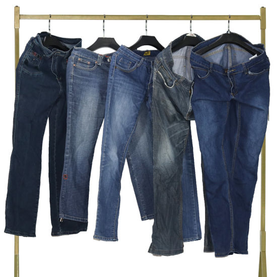 Bulk First-Tier-Cities Sourced Men's Jeans Pants Used Clothes in Bales