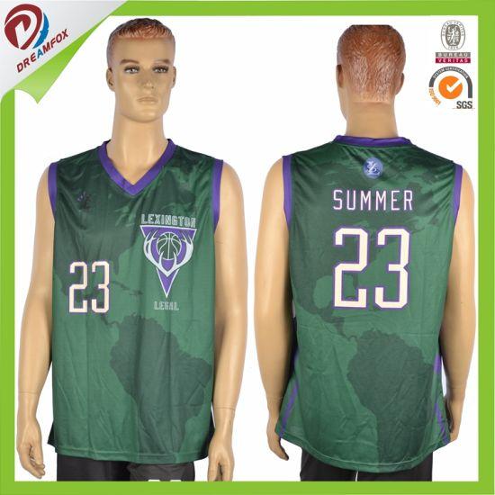 China Custom Dark Green Man Sublimated Basketball Uniform Team Set