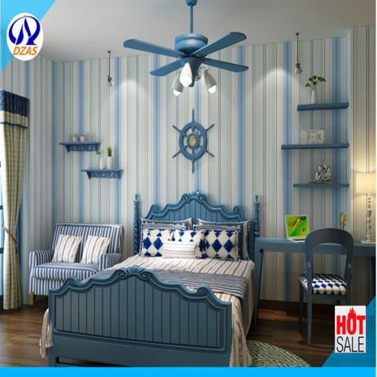China Living Room Sofa Bedroom Background Wallpaper Blue White