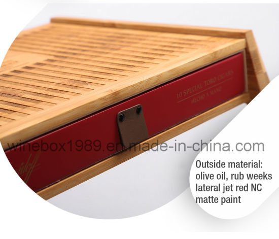High-End Retro Design MDF Carbonized Bamboo Cigar Box pictures & photos