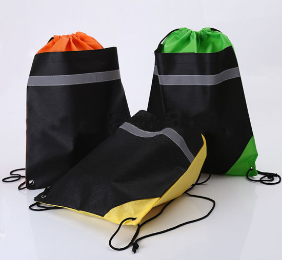 Promotional Garment Gift Reflective Stripe Non Woven Fabric Drawstring Bag