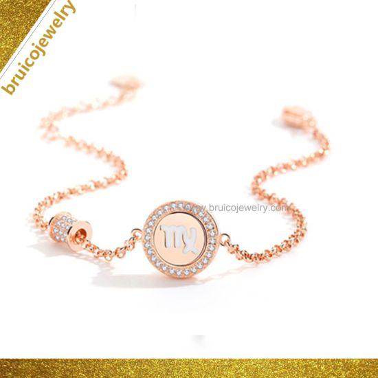 Hot Style Zodiac Bracelet Silver Virgo Signet Bracelet with Rose Gold  Plating New Design Bracelet Jewelry for Women