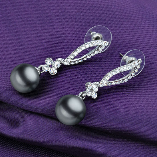 Gold Jewelry Alloy Crystal Black Pearl Earring Drop pictures & photos