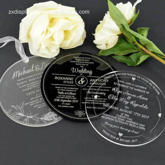 China custom laser cut round acrylic wedding invitation card china custom laser cut round acrylic wedding invitation card stopboris Image collections