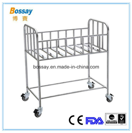 Safety Stainless Steel Baby Bed with 4 Castors