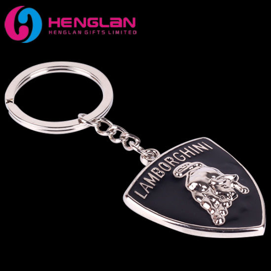 China Silver Plated Enameled Car Brand Keyring Metal Alloy