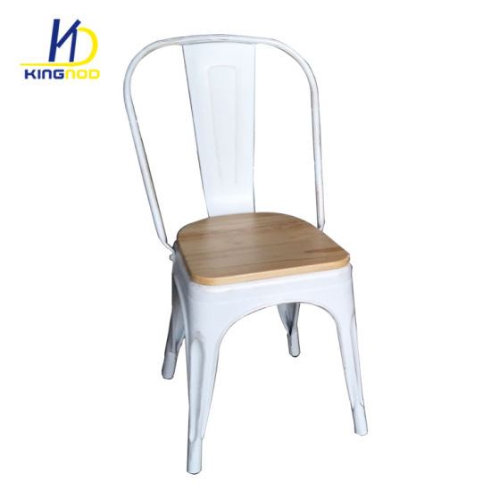 china cheap powder coated metal tolix restaurant chairs with wood