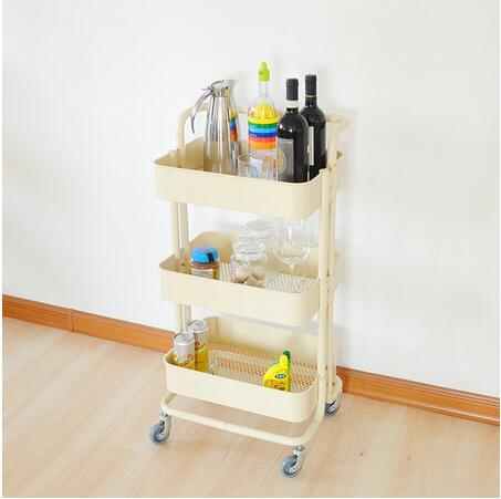 6026c7135313 Easy Moving 4 Wheels Trolley Cart Kitchen Trolley with Basket