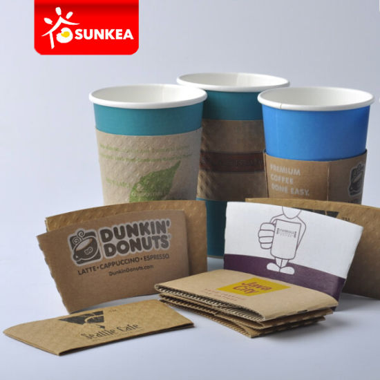 Reusable Cup Wraps, Printed Kraft Coffee Cup Sleeve pictures & photos