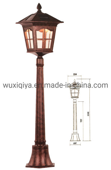 Solar Light Outdoor Garden Pillar Lights, Flat Mount, Bright White LED, Dark coffee Gold pictures & photos