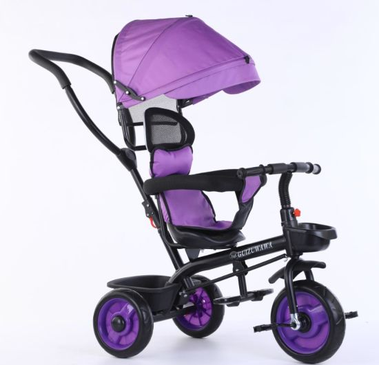 Manufacture High Quality Baby Tricycle with Pushing Bar Kids Tricycle 4 in 1 Children Tricycle