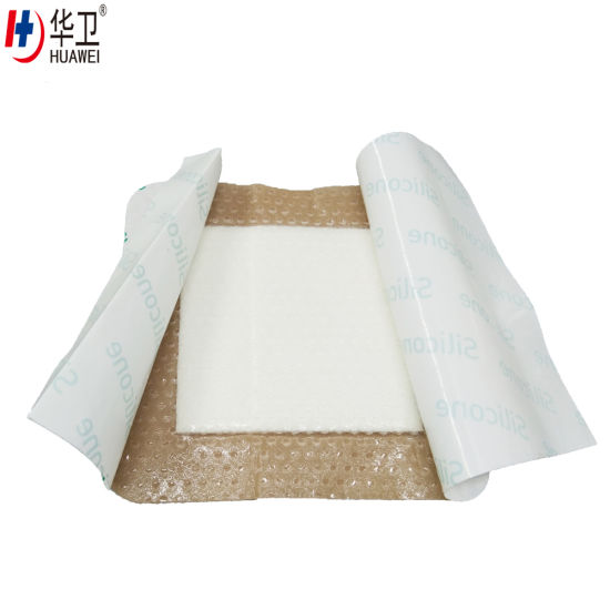 Premium Sterile Reusable Adhesive Medical Silicone Foam Dressing for Foot Ulcer, Sacrum, Sacral Foam Dressing, Remove Scar, Burn Wound