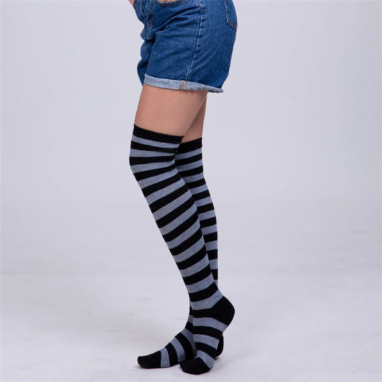 0a3c7fef87f Hot New Sexy Women Girl Striped Cotton Over Knee Socks Fashion Stockings  Cheap Thigh High Stocking for Dating Cosplay