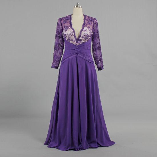 Women V Neck Purple Chiffon Lace Long Sleeve Evening Dresses E592