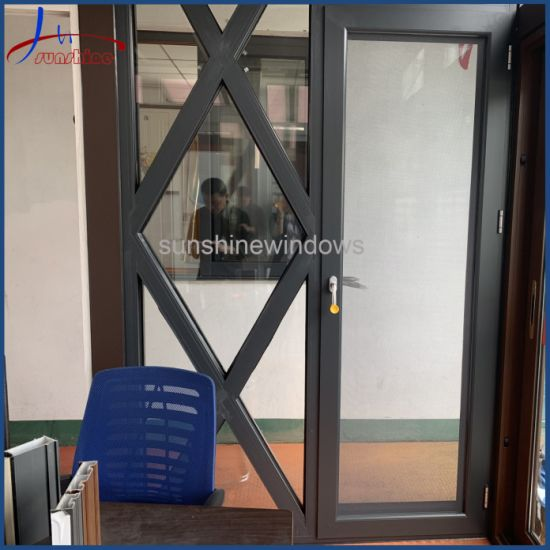 Black Color Aluminum Frame Tempered Glass Door for Residential Use