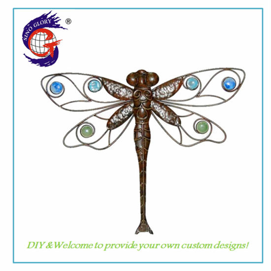Wall Art of Custom Hand Painted Metal Dragonfly Wall Hanging Decor Home Decoration