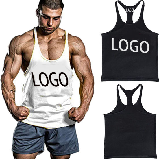 ed19d89f60706 Custom High Quality Fitness Muscle Stringer Plain Gym Cotton Men Tank Top  Vest with Printing Logo
