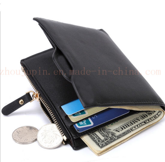 OEM Logo Fashion PU Zipper Billfold Purse Wallet with Coin Pocket pictures & photos