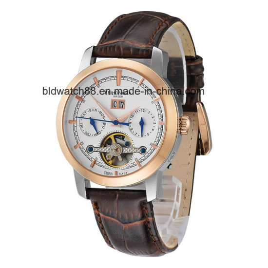 Mens Leather Automatic Mechanical Self Wind Skeleton Hollow Tourbillon Wristwatches pictures & photos