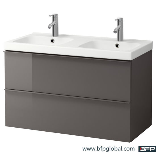 Double Basin Grey Color Design Lacquer Vanity Cabinet pictures & photos
