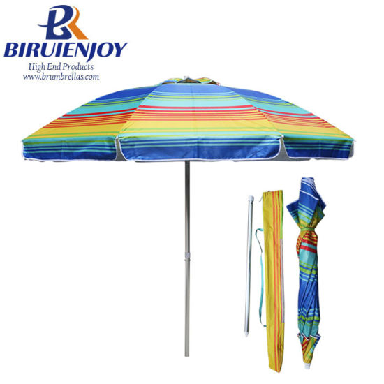 240cm*8K Pop up Sun Beach Umbrella with Color Stripes Printing Canopy