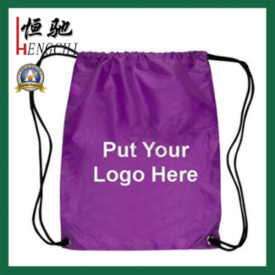 Logo Printed Advertising Travel Drawstring Backpack for Student pictures & photos