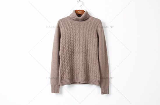 Cashmere High Neck Pullover with Cable Patten pictures & photos