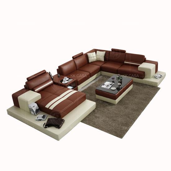Large Size Sectional Leather Sofa Set