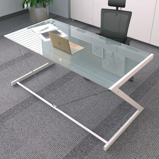 Tempered Glass Computer Desk With Z Shaped Metal In Black Colors For Home Office Furniture